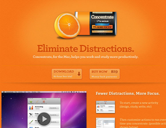 An example of an orange website