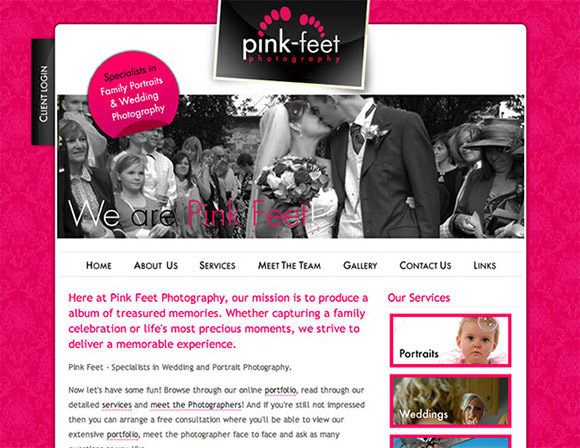 An example of a pink website.